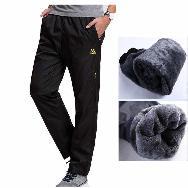 18852bc1 New Winter Fleece Thick Pants Men's Outside Casual Heavyweight Zipper Pants  Men Warm Straight Waterproof Fit
