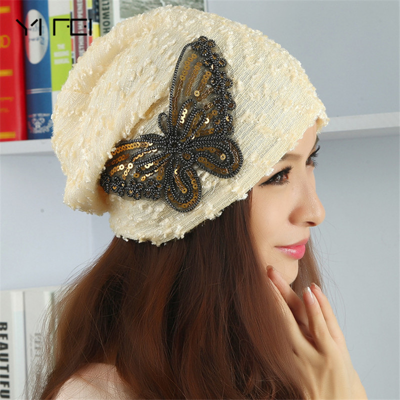 YIFEI New Fashion Bow Sequins Lace Sleeve Autumn Winter Hat Knitting Circle Cube Cap Ms Winter Hat Home Snapback Hat Bone Manga the new children s cubs hat qiu dong with cartoon animals knitting wool cap and pile