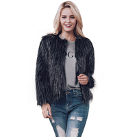 Women Faux Fur Coat New White Tip Black Fur Fur Coat 2017 Fashion Hot Sale Fur