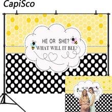 Capisco płeć ujawnia tło imprezowe Baby Shower zdjęcie tło on lub ona co to będzie pszczoła foto budka fotografia rekwizyty