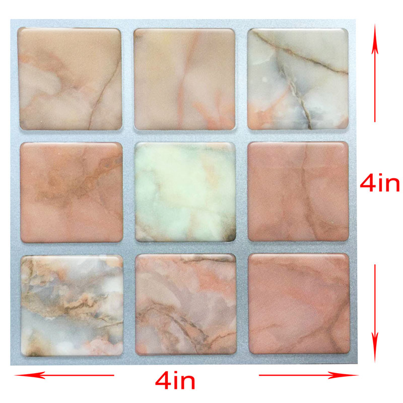 4 Inch Resin 3d Stair Wall Tile Sticker Stationery Sticker Imitation Stone Waist Line Sticker Wall Border Decor Pack Of 20