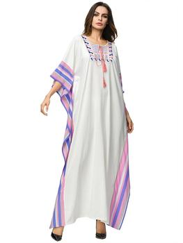 Dubai Islamic Arab Kaftan Muslim Women Jilbab Long Dress Abaya Maxi Summer Robe 1