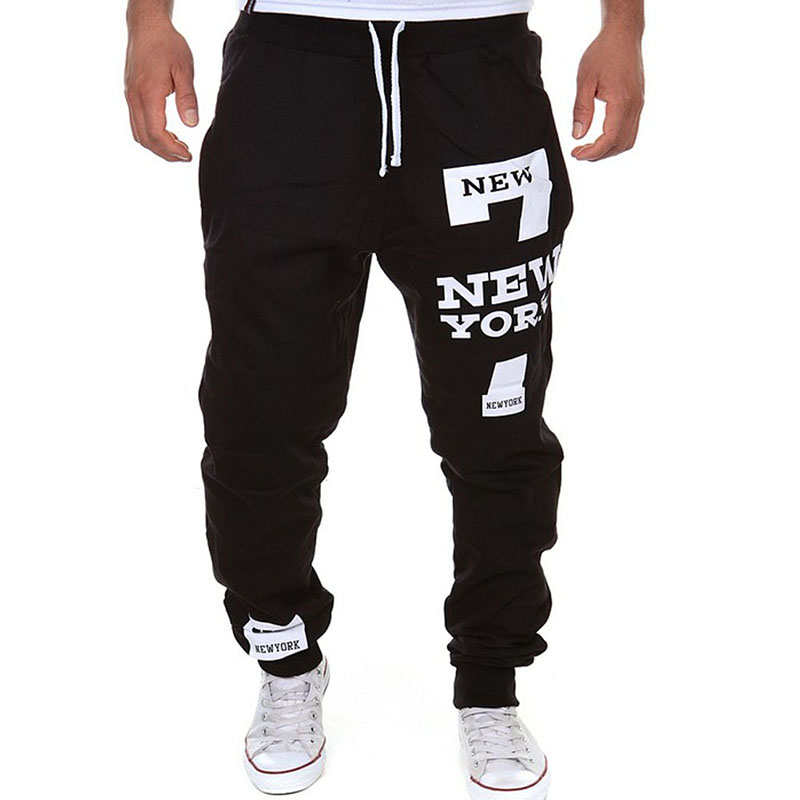 Fashion Pants For Men Plus Size Hip Hop Street Wear New York Letters Printed Casual Harajuku Trousers Joggers Drawstring Pant LB