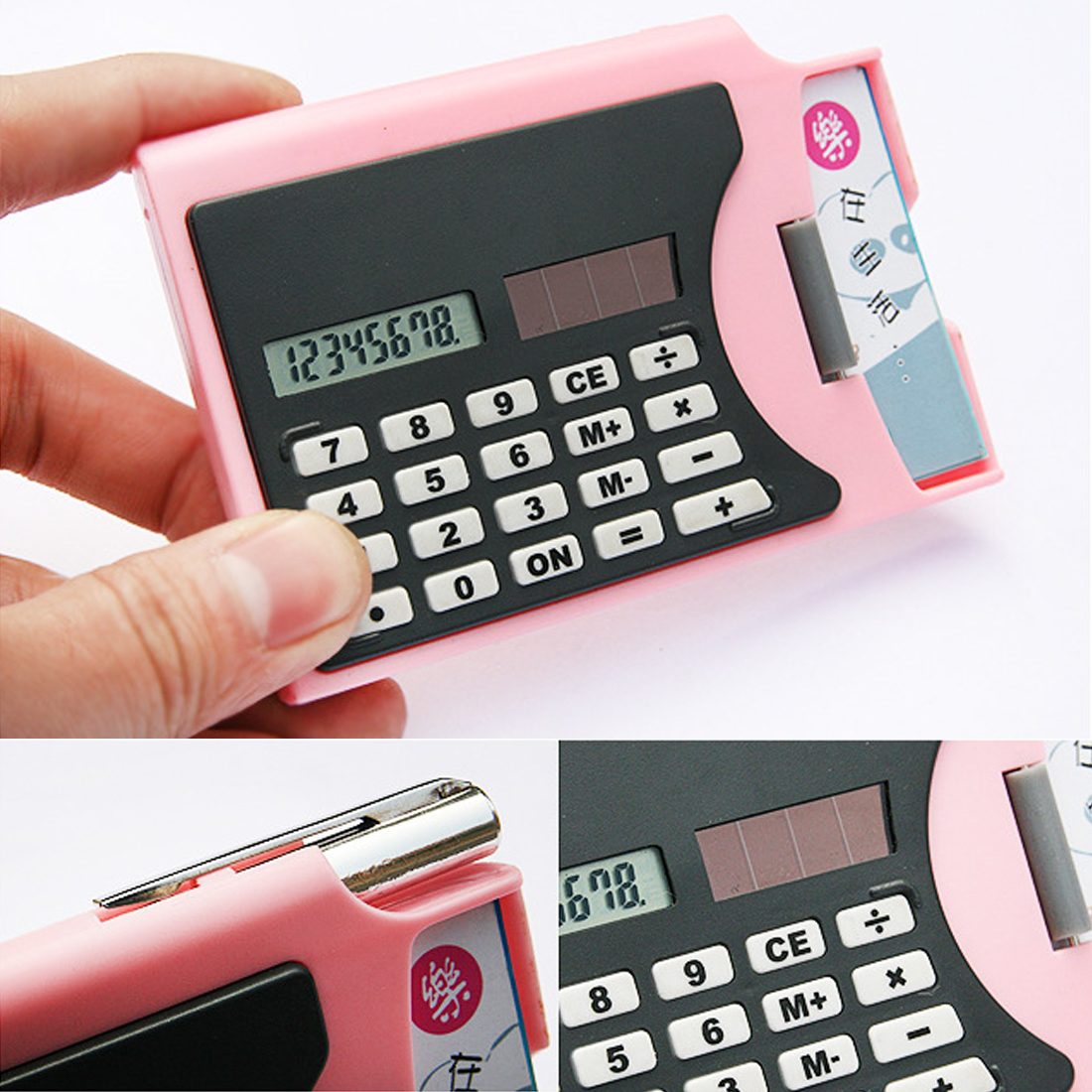 Ultra-thin Creative Three-in-one Business Card Holder With Pen Solar Calculator For Business Student Stationery Calculator