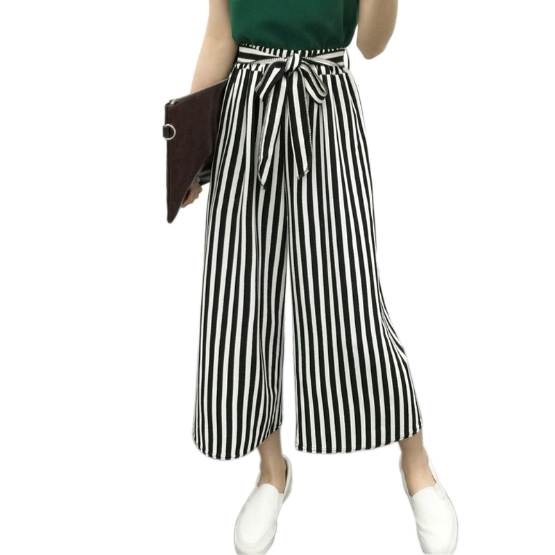 2018 Summer Newest Style Leisure   Pants   Loose High Waist Thin   Wide     Leg     Pants   Stripe Bow Tie Bell Bottom   Pant   Women Plus Size