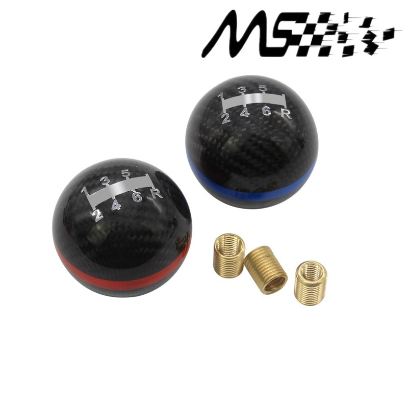 Real Carbon Fiber Shift Knob Manual Automatic Spherical For Honda Toyota Nissan