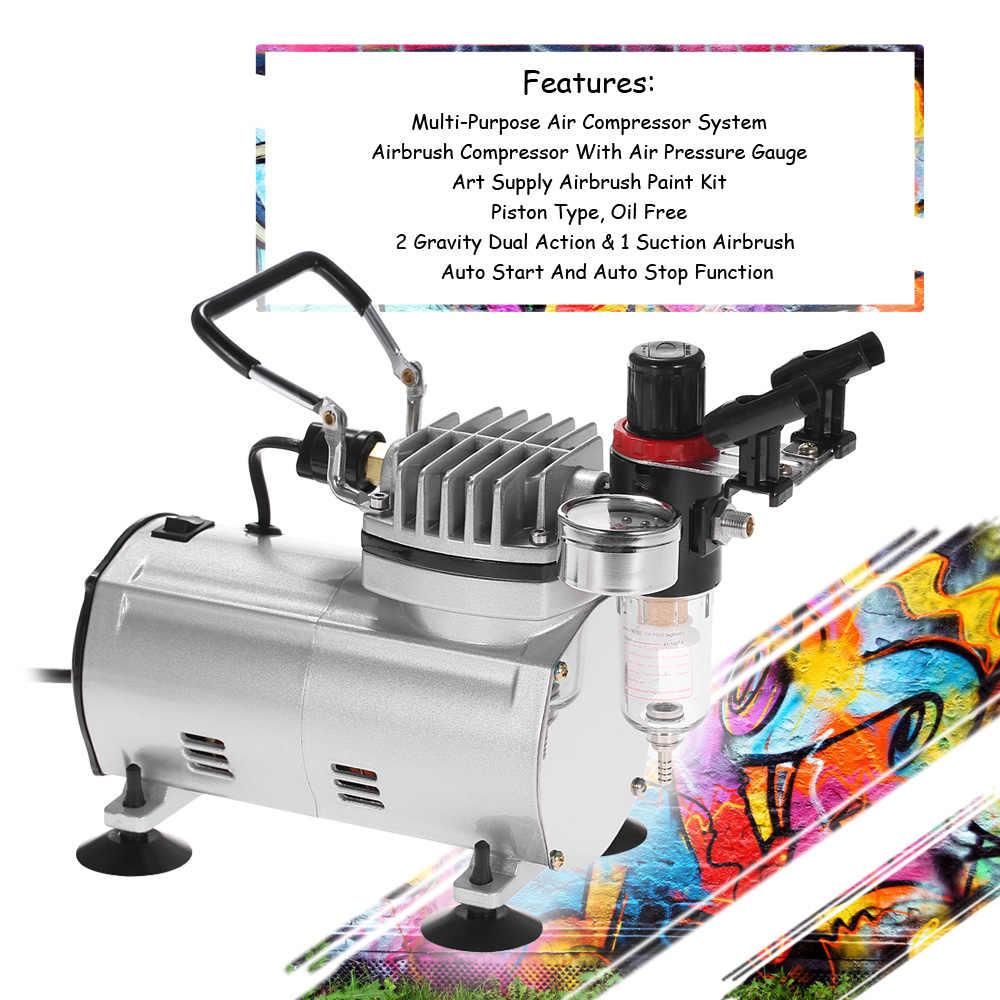 3 Pcs Dual-action Airbrush Kit + Air Compressor Verf Spuitpistool Air-borstel Set Zandstralen Tattoo Nail art Supply voor Tornador