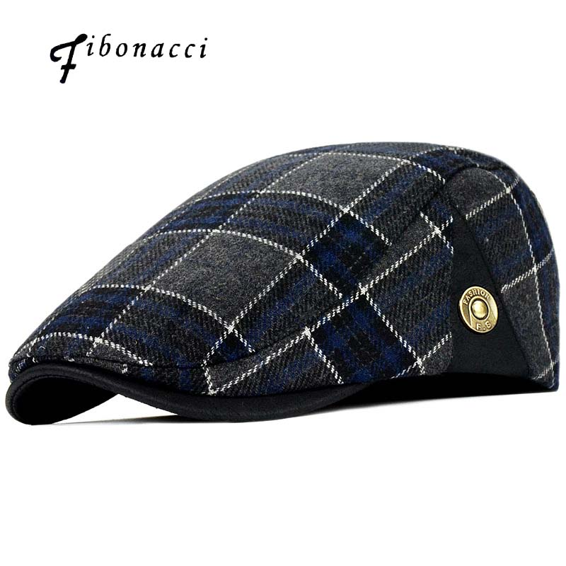 Fibonacci High Quality Retro Adult Berets Men Wool Plaid Cabbie Flatcap Hats For Women's Newsboy Caps
