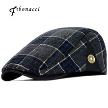 Fibonacci High Quality Retro Felnőtt Bérlők Men Wool Plaid Cabbie Flatcap Kalap Női Newsboy Caps