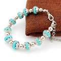 Ubeauty  Women Charming Fashion  Nature Turquoise Stone Bead bracelet Tibetan silver plated Chain Bracelets & Bangles