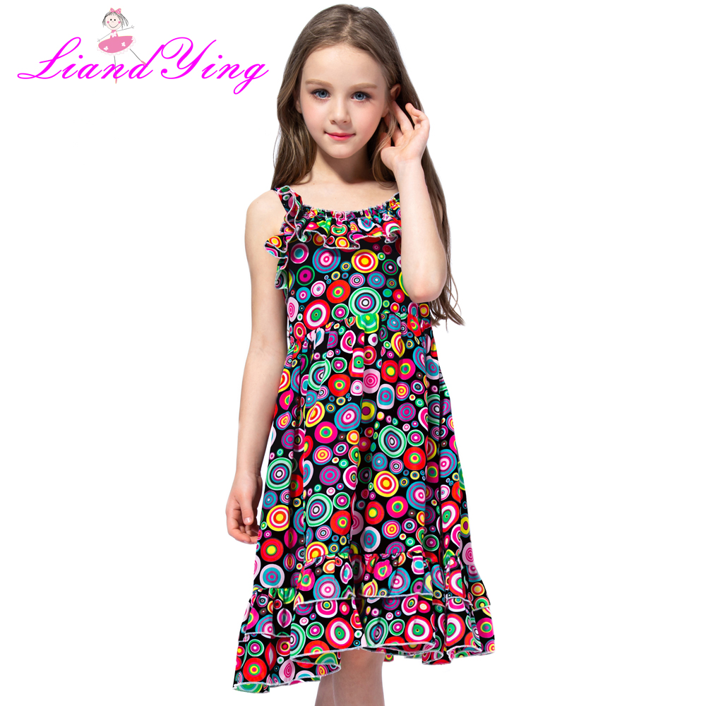 5f6f51357d1b Children Ladybug Dress Rainbow Circle Polka Dot Kids Summer Sundress Girl  Evening Dresses 4 8 10