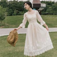 Бежевое кружевное платье феи, винтажное французское кружевное платье трапециевидной формы с рукавами-лепестками, платье принцессы для стройной леди, милое платье Mori Girl, Vestidos Faldas