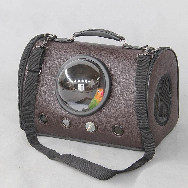 Extérieur en cuir oiseau épaule sacs Portable perroquet porter Cage avec bâtons et tasses Pet respirant espace Capsule sac à main CW082 - 5