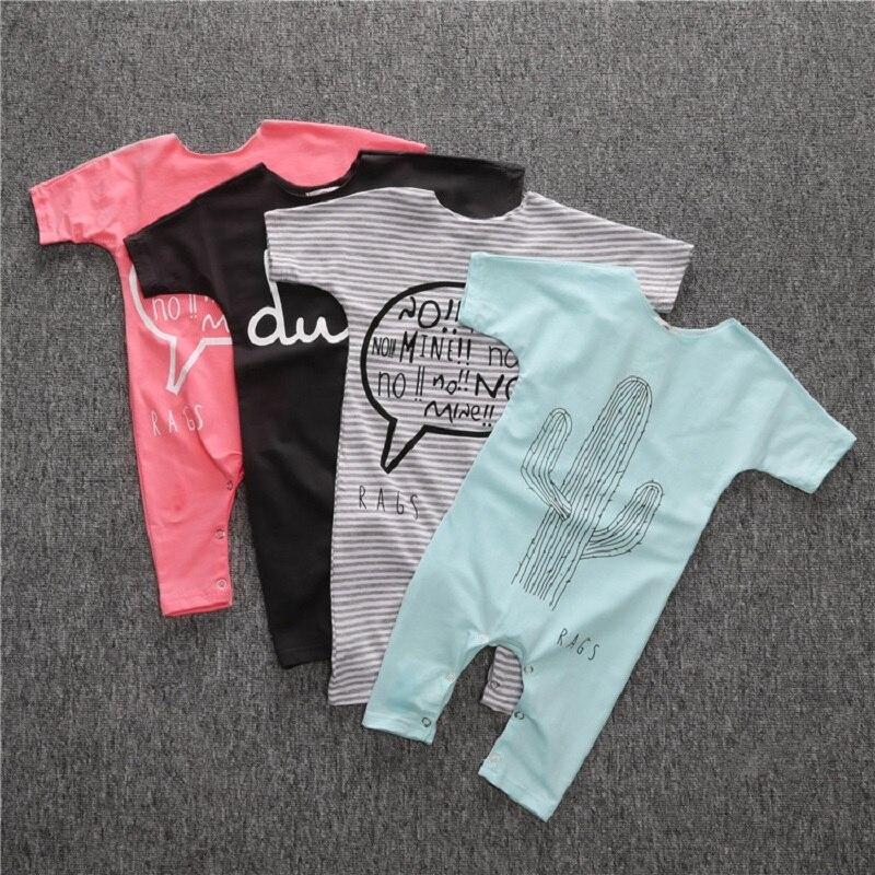New 2019 Girls Clothes Baby Romper Short Sleeve Cactus Stripe Letter Dul Romper for Boys Girls Bebe Vestidos Cartoon Bobo Choses