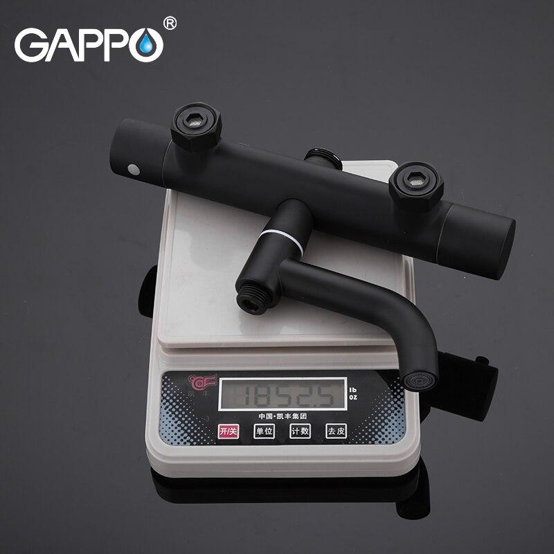 Gappo noir robinets de douche baignoire thermostatique froid température chaude robinets système de douche grande tête - 5