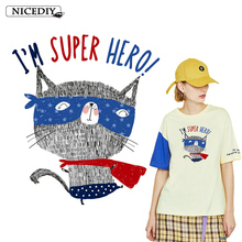 Nicediy Super Hero Cat Patches Fashion Animal Patch DIY Clothes Stickers Thermal Transfer Printing Iron On For Clothing