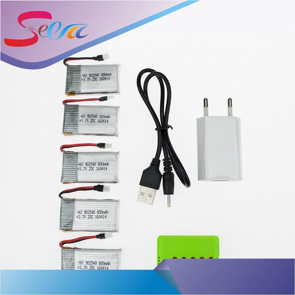 5pcs 3.7v 800mAh Lipo battery with USB charger plug for syma X5C-1 X5C V391 Cheerson CX-30 CX-30w RC Quadcopter Part kusb 001 usb charger for syma jjrc cheerson hubsan mjx