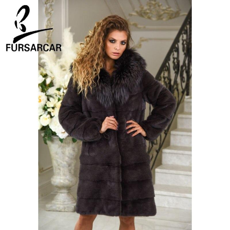Меховая куртка, 95 см, Длинная зимняя норковая шуба с воротником из лисьего меха, роскошная куртка темного цвета, оптовая продажа, новинка 2018
