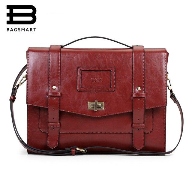 """BAGSMART Novas Mulheres Sacos Do Mensageiro Bolsa De Couro PU Crossbody Satchel Briefcase Bolsas Femininas Do Vintage Sacos para 14.7 """"Laptop"""