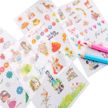 цена на 6sheets/pack cute decorative sticky kawaii cartoon adhesive sticker DIY album diary stationery stickers scrapbooking