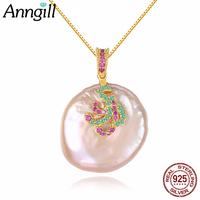 2018 New Pink Real Baroque Pearl Necklace 100% 925 Silver Sterling necklaces & pendants Bijoux Femme Jewelry Gifts For Women
