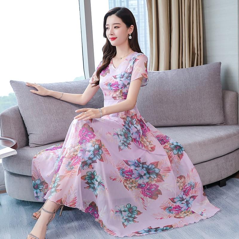 Pink,Green,Purple Flowers Summer Dress Women Short Sleeve
