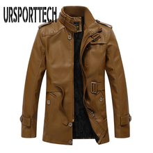 URSPORTTECH Brand Leather Jacket Men Coats High Quality PU Outerwear Business Winter Faux Fur Male Fleece Size L-4XL