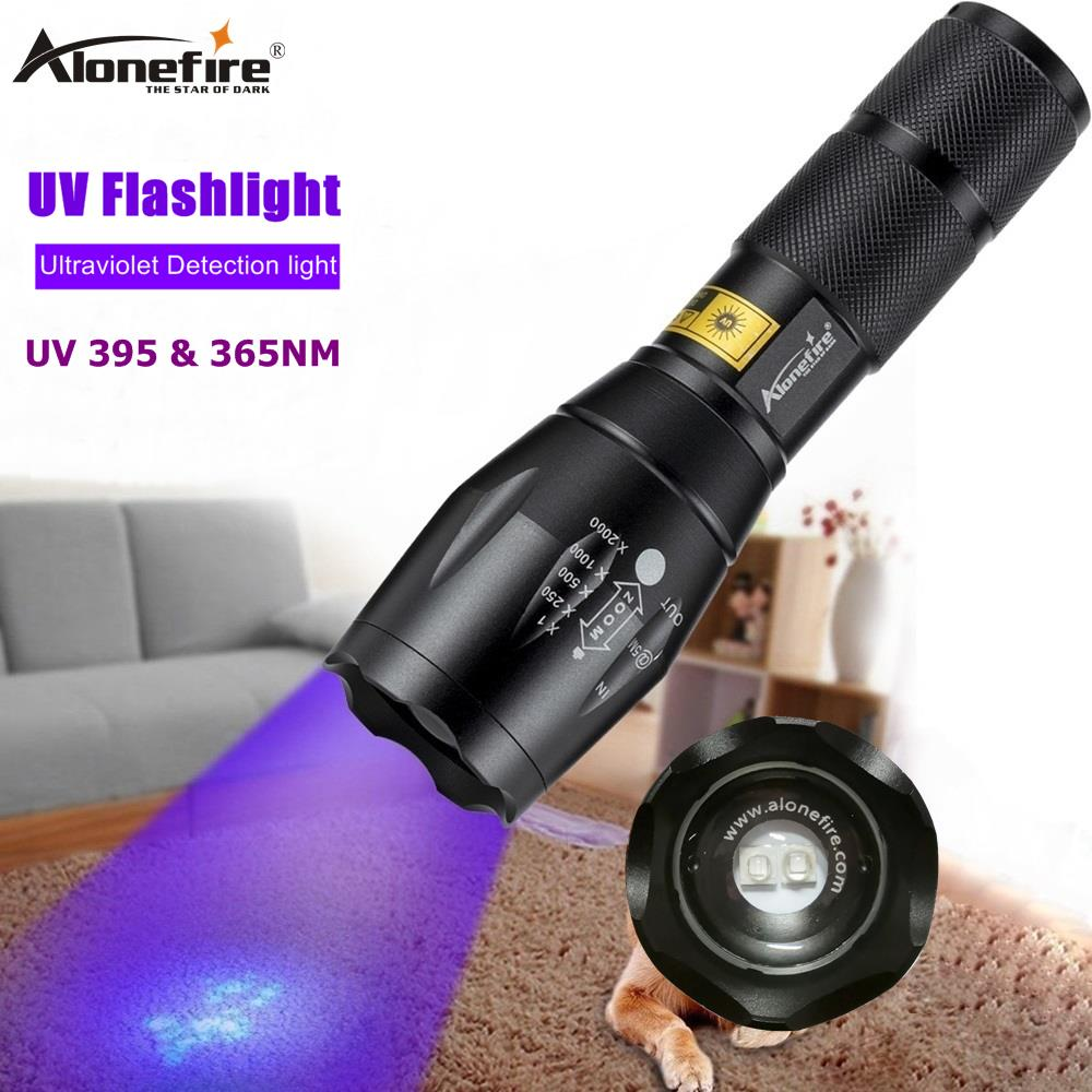 AloneFire E17 UV Flashlight Mini Led Torch 365nm Blacklight Wavelength 395nm Violet Light Uv Black Light Torcia Linterna