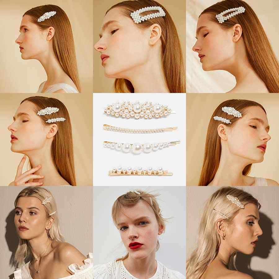 Dvacaman Vintage Pearl Girls Clip Pins Wedding Bridal Women Hairwear Fashion Korean Barrettes Jewelry Baby Party Gifts Wholesale