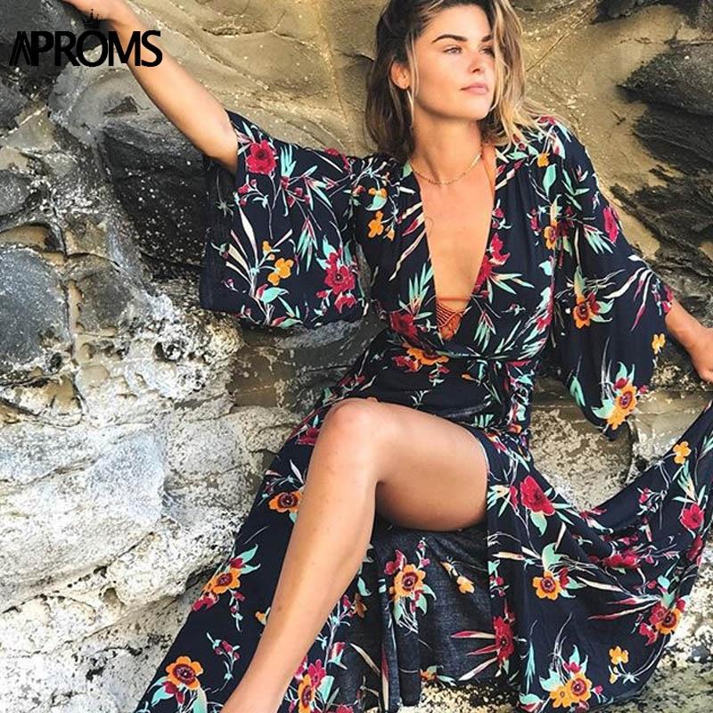 Aproms Boho Chic Stampa Floreale Lungo Maxi del Vestito Profondo Scollo a V 3/4 Manica Casual Festival Estivo Spiaggia Kimono Robe Abiti abiti