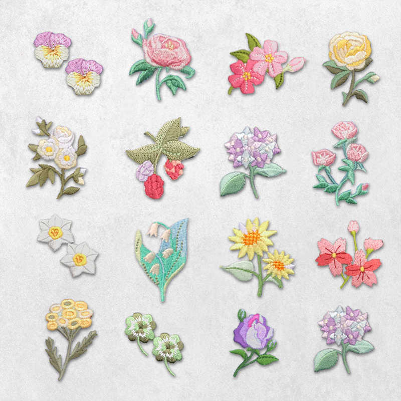 AHYONNIEX Cheap Flowers Embroidered Patch for Clothing Sew on Sew Applique Patch Jeans Clothes Sticker Badge Iron on Floral