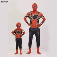 Spiderman Costumes Spider Adults Children Print 3D Red Blue Black Halloween Party Kids Boys Man Suit