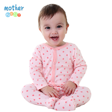 Mother Nest Newly 2016 Long Sleeve Baby Clothing Baby Boy Girl Wear Pink Polka Dot Newborn Baby Overall Clothes Baby Rompers(China)