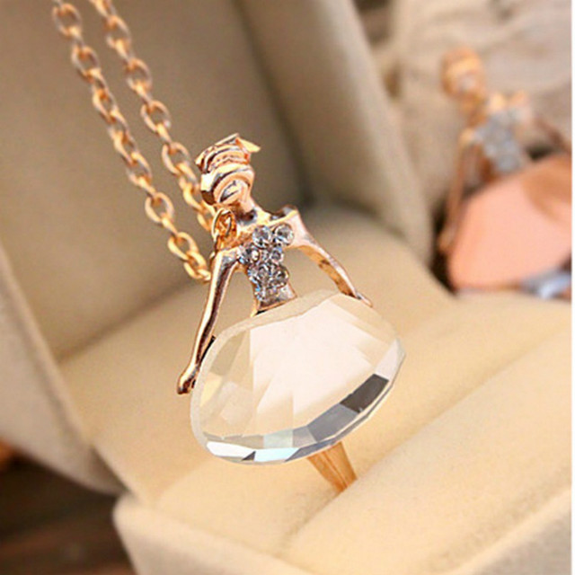 Gold Silver Chain Shiny Crystal Ballerina Girl Pendant Necklace Statement Long Necklace Jewelry Female Long Necklace