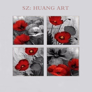Large murals Red Wall Art Elegant Poppy Red Flower Art Plant Abstract Art Poppy Canvas Wall Art Painting for Living Room