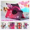 Новый окрашенные цветок Искусственная Кожа 360 Градусов Вращающийся Case для ipad мини Смарт Обложка таблица case Для iPad Mini 2 mini3 Retina 7.9 inch
