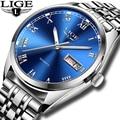 Часы LIGE мужские  водонепроницаемые  из нержавеющей стали  аналоговые  наручные часы с отображением даты  спортивные  кварцевые