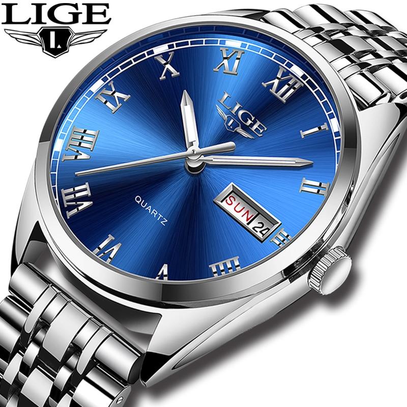 LIGE Watches Men Waterproof Stainless Steel Luxury Analogue Wrist Watches Week Display Date Sports Quartz Watch Men Montre Homme