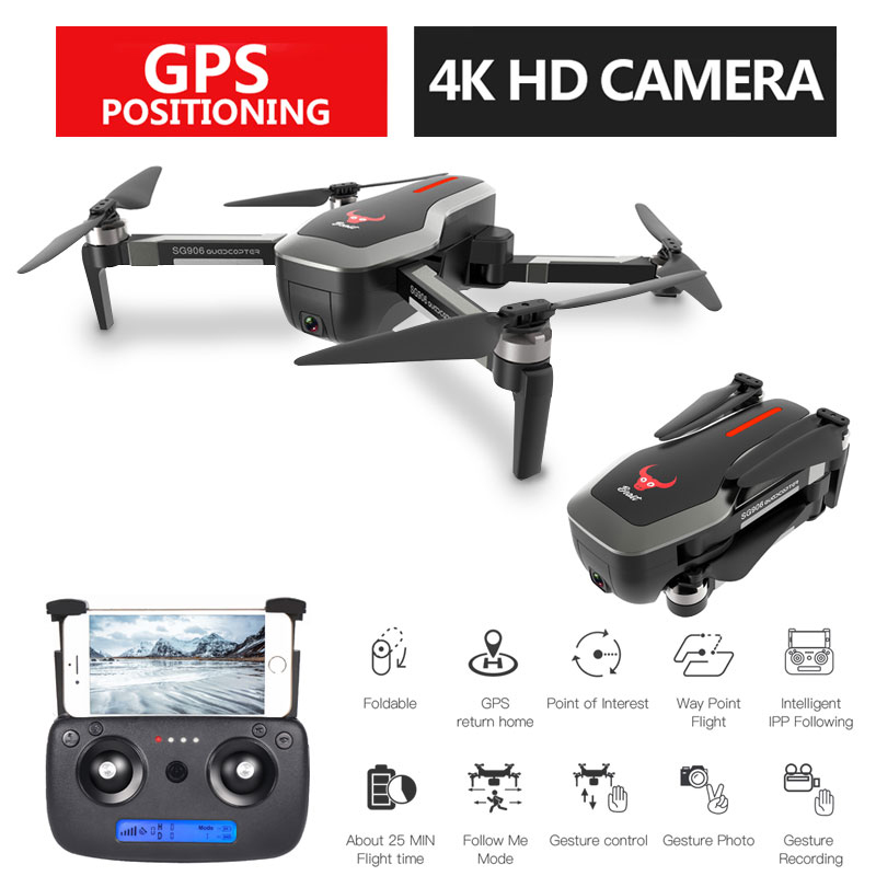 SG906 Profissional GPS 5G Foldable Drone With Camera 4K WiFi FPV Wide Angle Optical Flow Brushless RC Quadcopter Helicopter Toys(China)