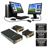 3in1 USB 2,0 UGA a DVI VGA compatible con HDMI Monitor Multi conector convertidor adaptador gráfico 4 Windows Macbook PC HDTV