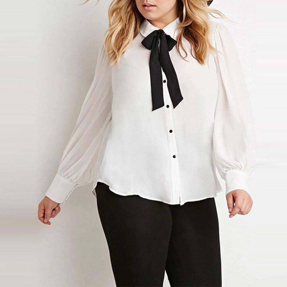 Kissmilk 2017 Плюс Размер Новая Мода Женщины Лук Кнопка Вниз Большой размер Белый Длинный Рукав Шифон Опрятный Стиль Блузка 3XL 4XL 5XL 6XL