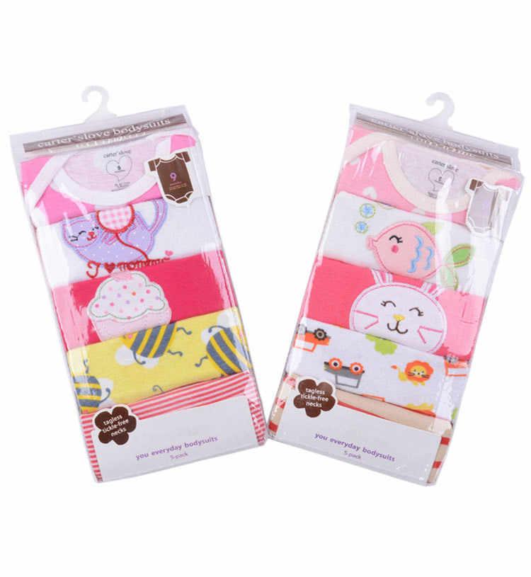 2018 летние детские комбинезоны, 5 упаковок, хлопковый комбинезон для новорожденных, одежда с короткими рукавами и вышивкой, одежда для маленьких девочек