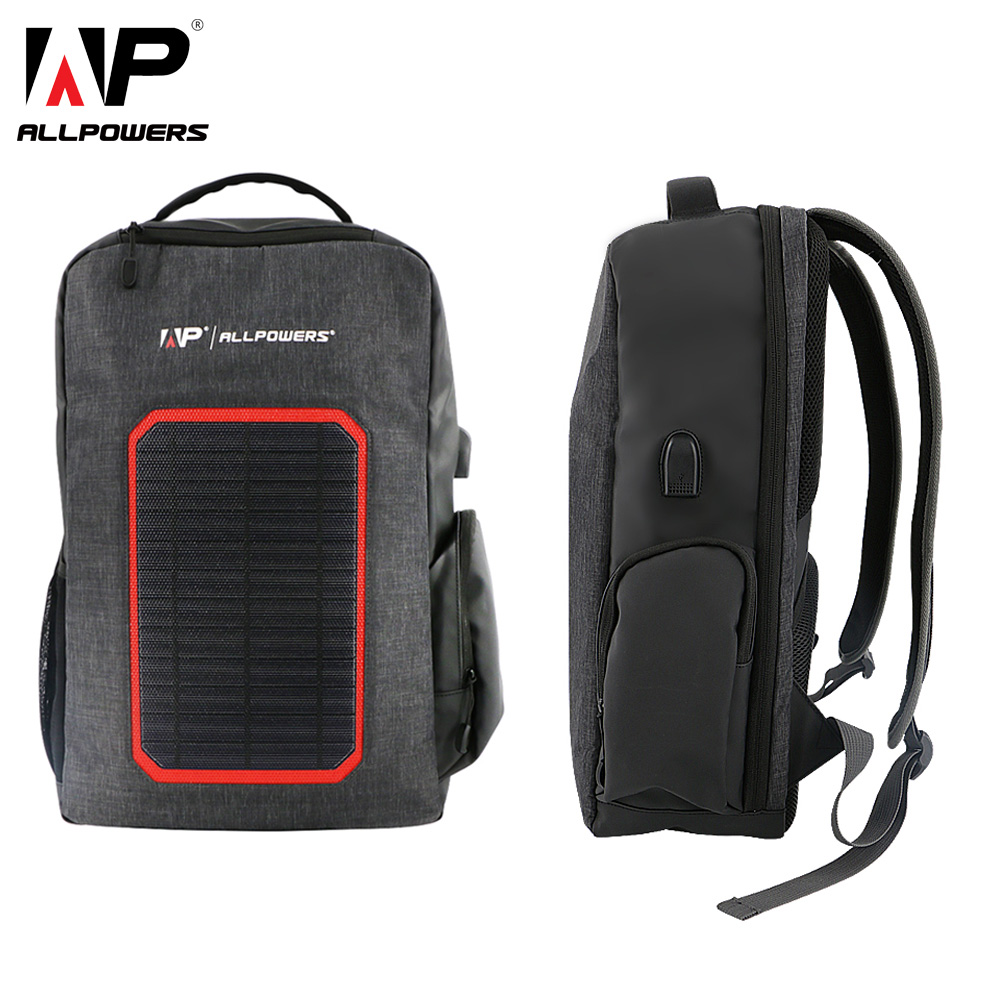 ALLPOWERS Solar Backpack 6000mAh Battery Solar Power Charger for iPhone 5 5s 6 6s 7 8 X Plus Huawei Xiaomi Samsung Cell Phone x dragon solar phone charger 20000mah 5w solar charger for iphone 4s 5s se 6 6s 7 7plus 8 x ipad samsung htc sony lg nokia