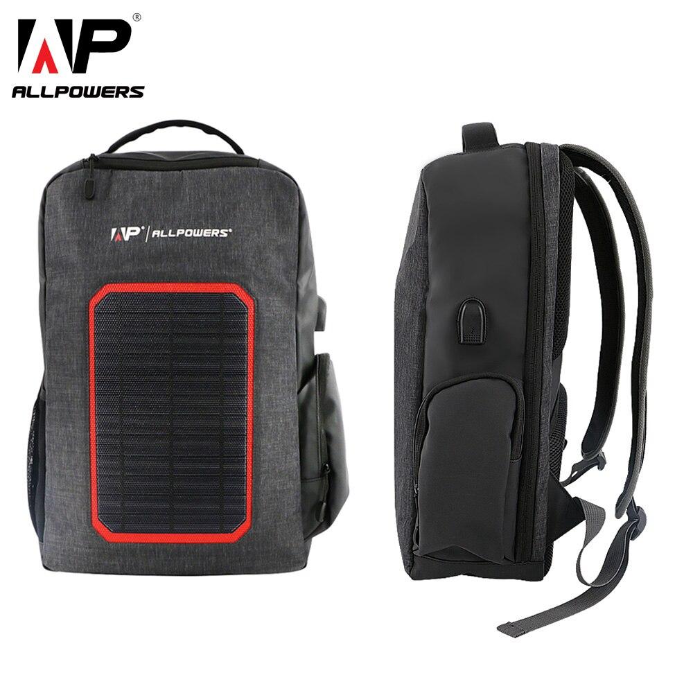ALLPOWERS Zaino Solare 6000 mah Batteria Solare del Caricatore di Potere per il iphone 5 5 s 6 6 s 7 8 X più Huawei Xiaomi Samsung Del Telefono Delle Cellule