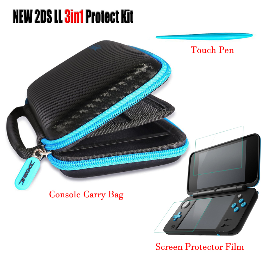 Nintend New 2DS LL/XL 2 Screen Protective Film + EVA Carry Bag Storage Case & 1 Stylus 8 Game Cards Storage Travel Bag 2sets lcd screen protectors guard film for nintend 2ds clear touch protect protective top bottom seal film for nintend 2ds