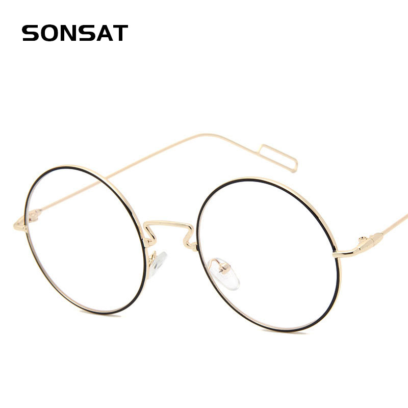 Retro Round Golden Metal Glasses Frame Brand Designer Vintage Men Eyewear Frames Optical Eye Glasses Frame