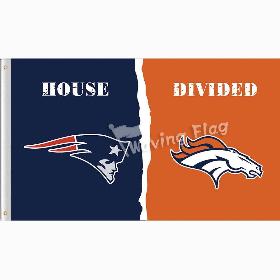 New England Patriots VS Denver Broncos House Divided Flag 3X5FT free shipping