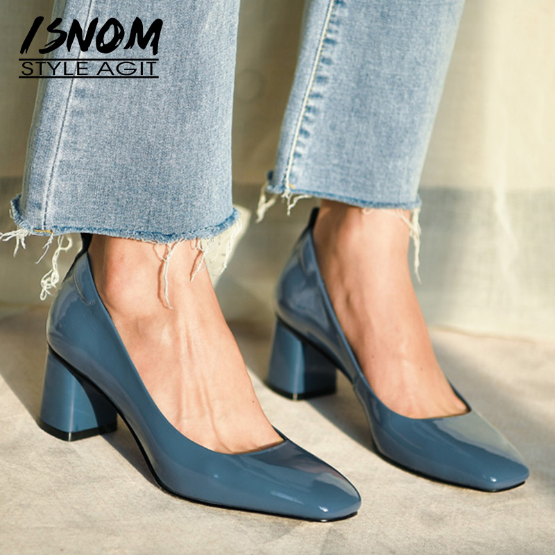 Pumps Women Office-Shoes Chunky-Heels 2inch Square Toe ISNOM Genuine-Leather Fashion