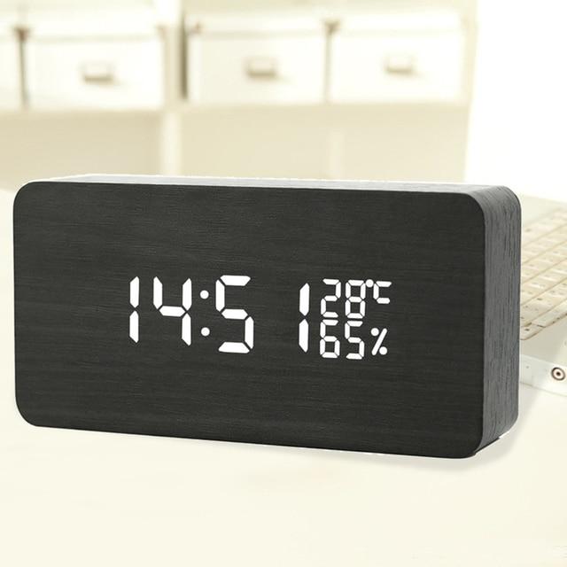 Office Electronic Alarm Clock Digital Wood +VPC Digital Electronic Calendar White and Green LED Board Offic Desktop Small Clock