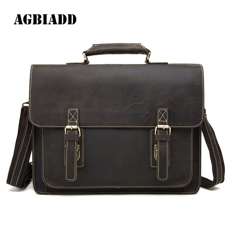 AGBIADD Genuine Leather Briefcase Crazy Horse Men Messenger Bags Leather Laptop Bag Maletin Hombre Brief Case Portfolio Men 478 designer second layer crazy horse leather briefcase men messenger shoulder bag laptop bag maletin hombre negocios bookbag b00021